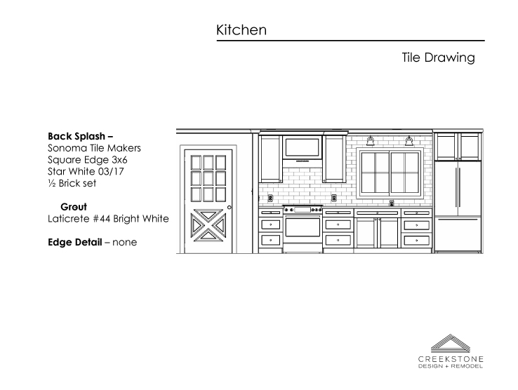 Sketch of kitchen design remodel in Portland