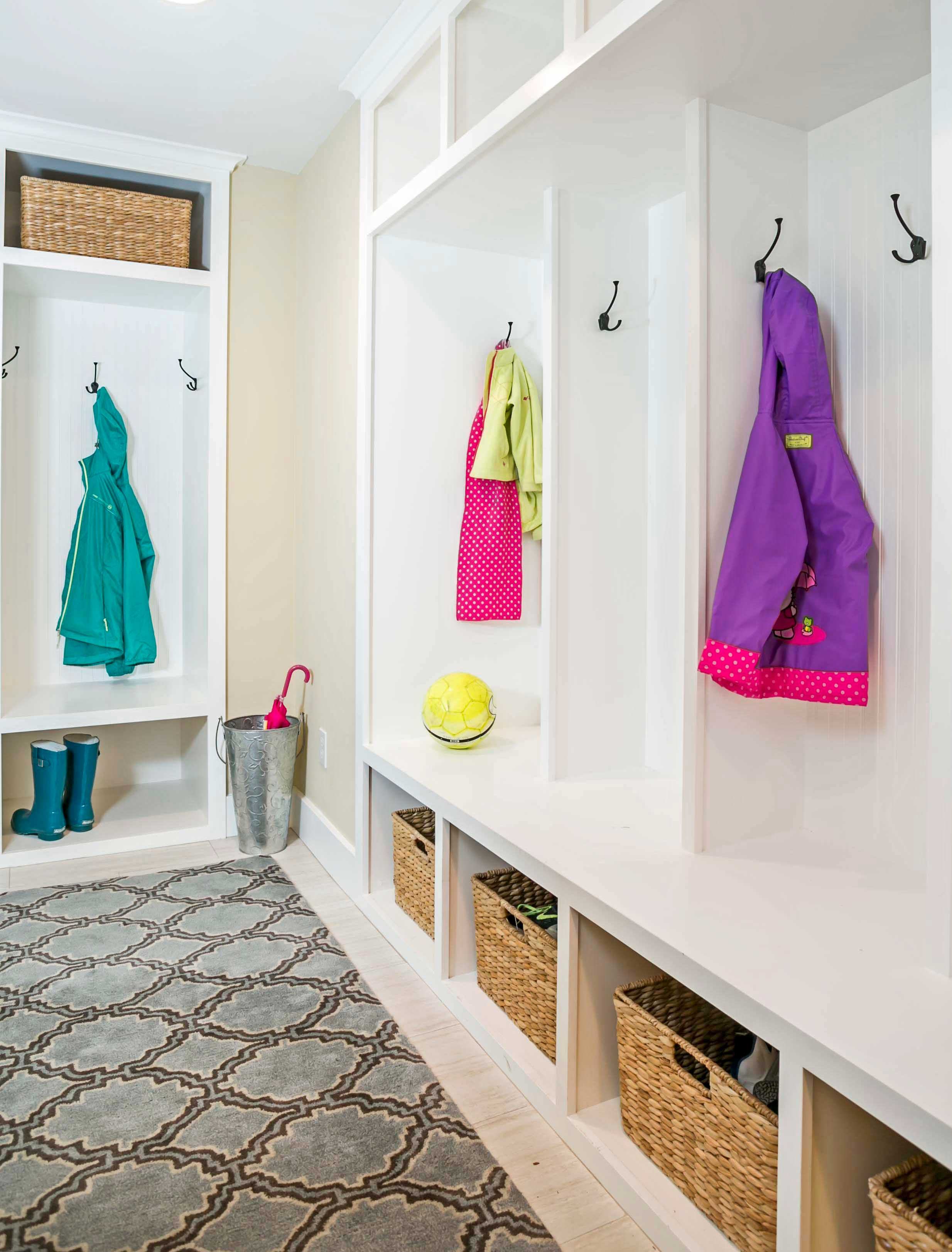 Mudroom basement remodel with built in storage