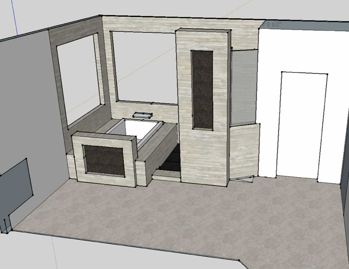 3D rendering of bathroom remodel in Portland
