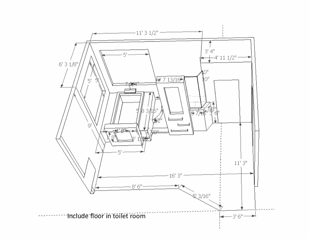 Sketch of bathroom remodel in Portland