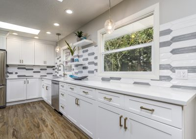Transitional SW Portland OPen Kitchen Wood Floors White Cabinets