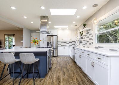 Transitional SW Portland Open Kitchen White Shaker Cabinets Blue Island Cabinets Random Hex Tile