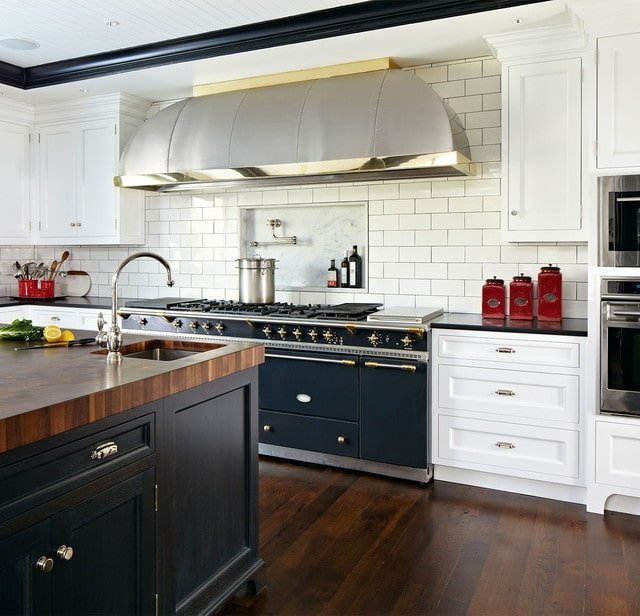 Black and White Kitchen Cabinet Design with Colorful Accents
