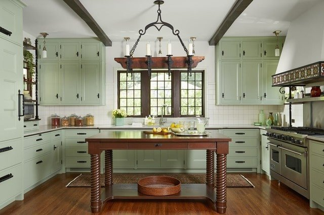 Subtle Green and Deep Brown Kitchen Cabinet Color Scheme